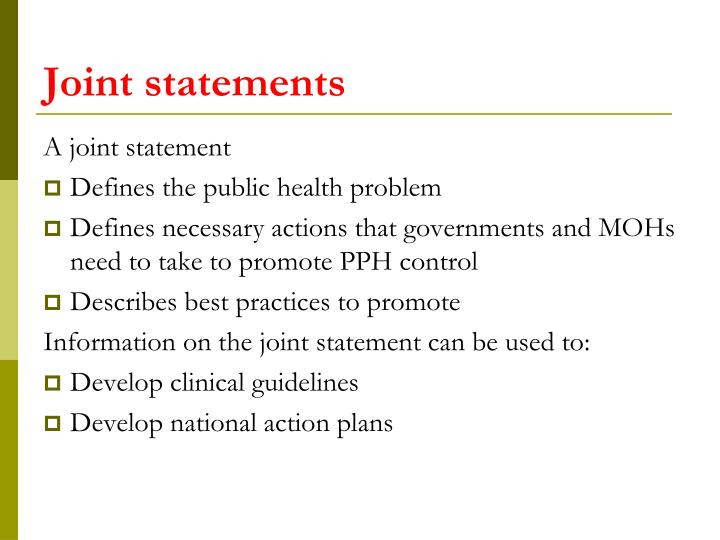 Joint statements