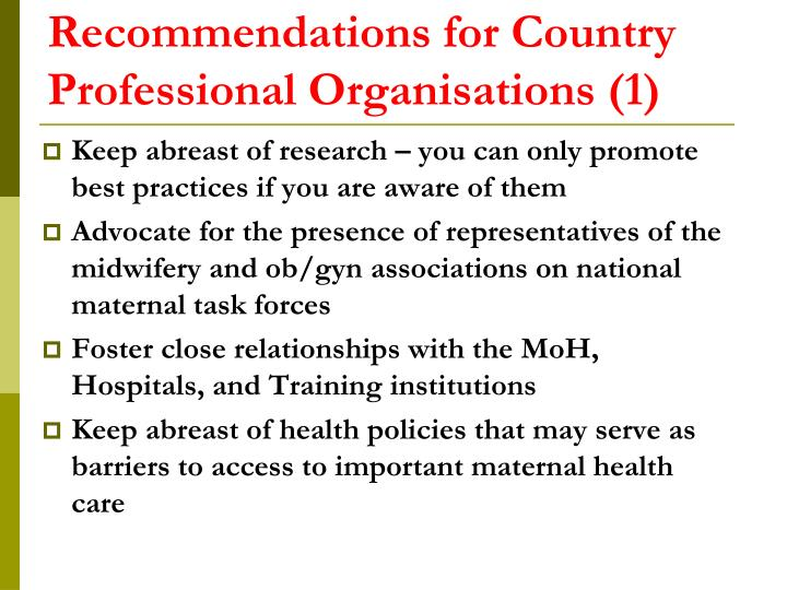 Recommendations for Country Professional Organisations (1)
