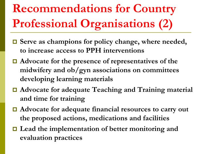 Recommendations for Country Professional Organisations (2)