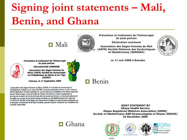 Signing joint statements – Mali, Benin, and Ghana