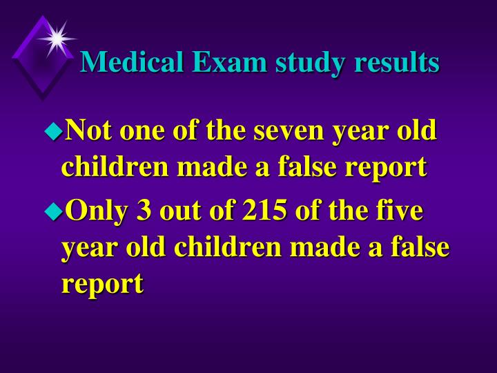 Medical Exam study results