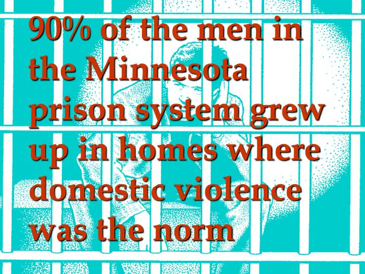 90% of the men in the Minnesota prison system grew up in homes where domestic violence was the norm