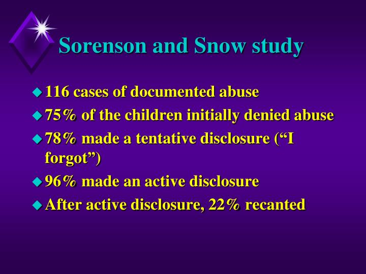 Sorenson and Snow study