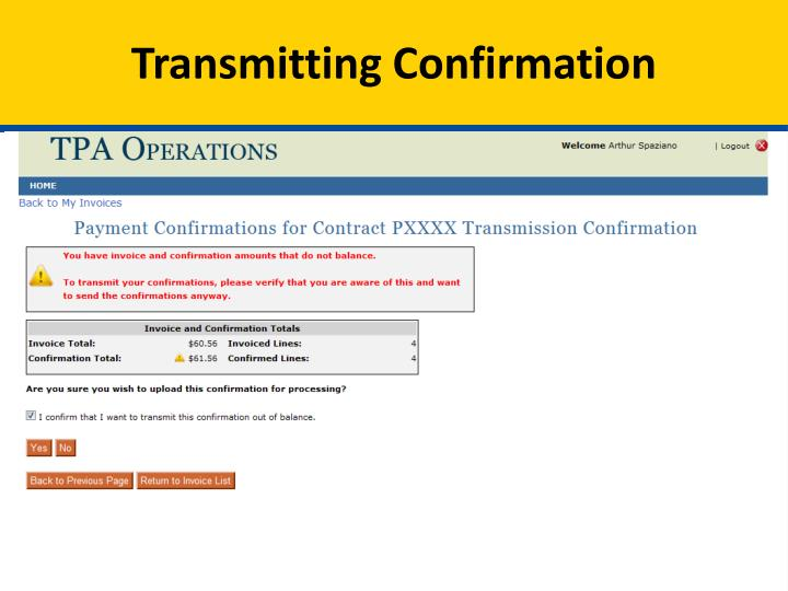 Transmitting Confirmation