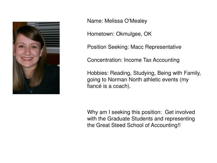 Name: Melissa O'Mealey