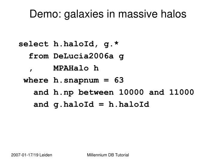 Demo: galaxies in massive halos