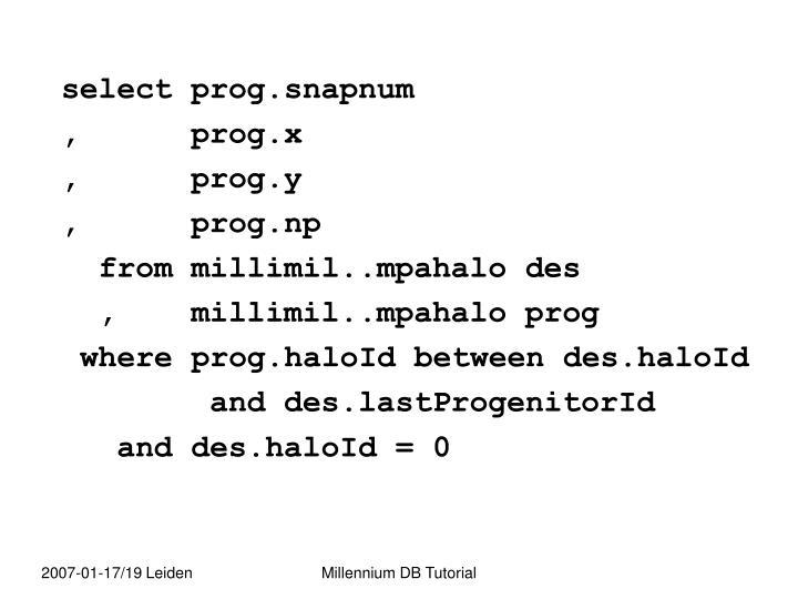 select prog.snapnum