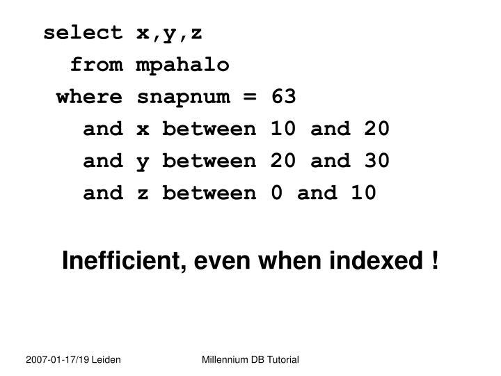 select x,y,z