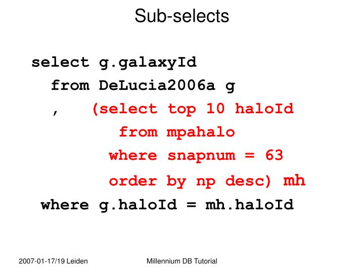 Sub-selects
