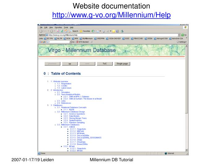 Website documentation