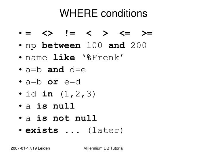 WHERE conditions
