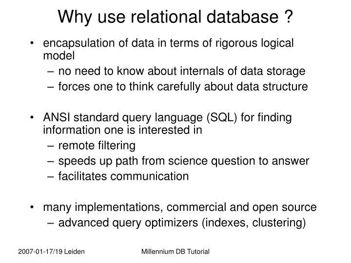 Why use relational database ?