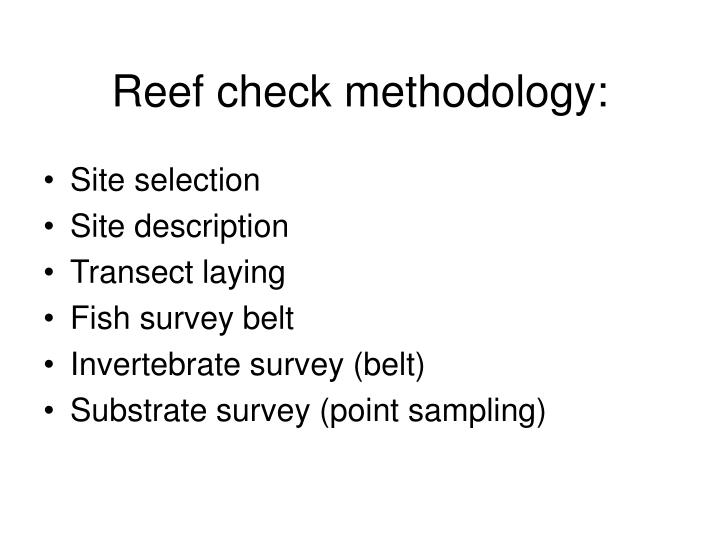 Reef check methodology: