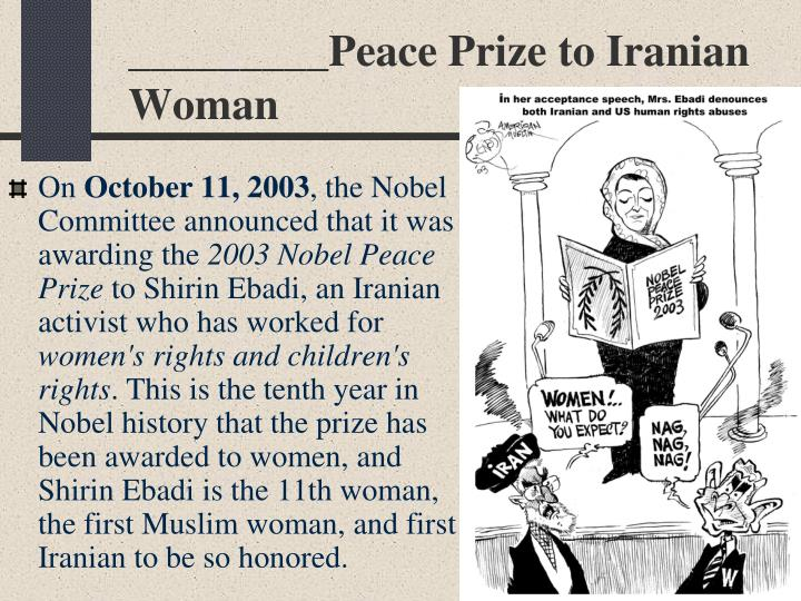 _________Peace Prize to Iranian Woman