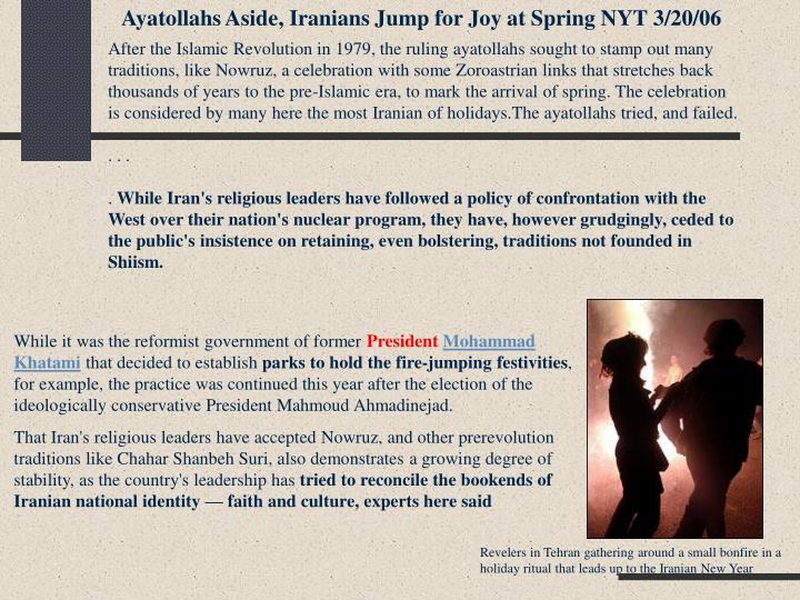 Ayatollahs Aside, Iranians Jump for Joy at Spring NYT 3/20/06