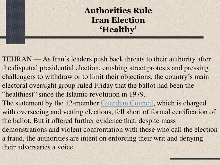 Authorities Rule Iran Election 'Healthy'