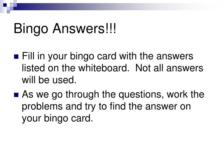 Bingo answers