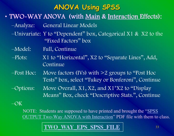 TWO-WAY ANOVA  (with