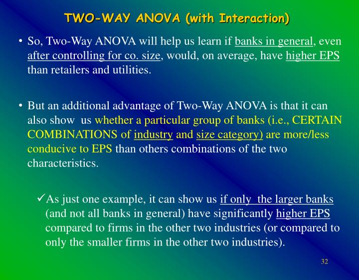 TWO-WAY ANOVA (with Interaction)