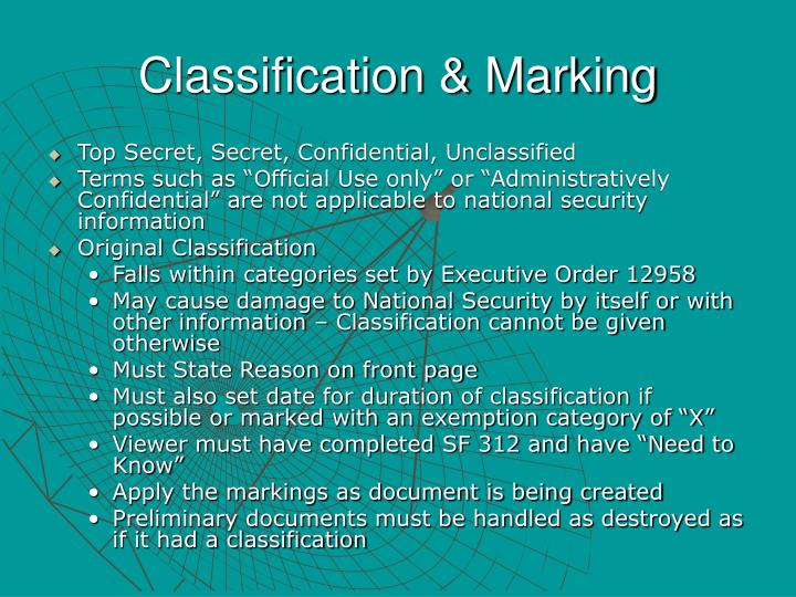 Classification & Marking