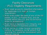 facility clearances flc eligibility requirements