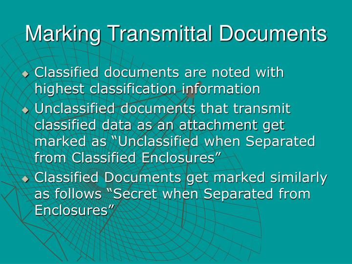 Marking Transmittal Documents