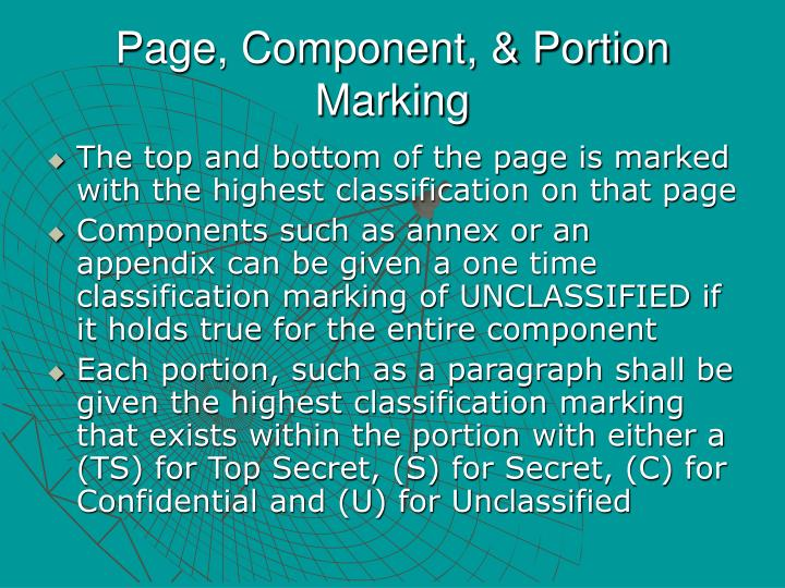 Page, Component, & Portion Marking