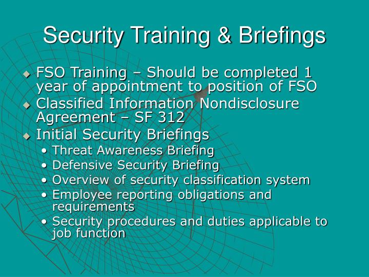 Security Training & Briefings