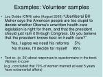 examples volunteer samples