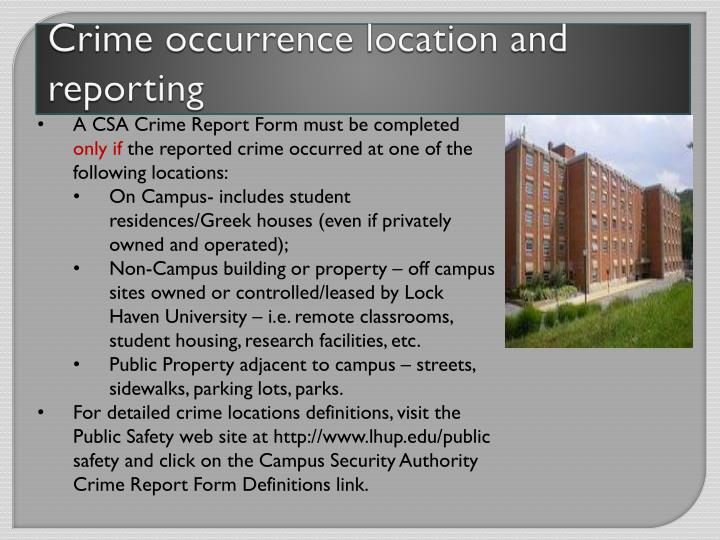 Crime occurrence location and reporting