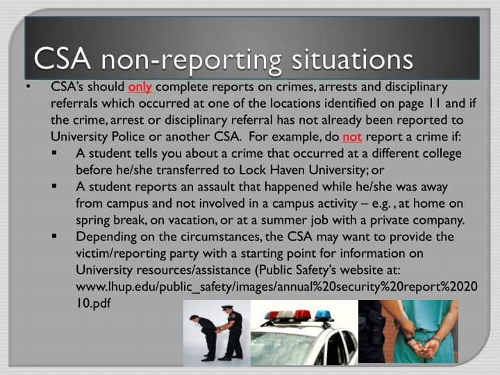 CSA non-reporting situations
