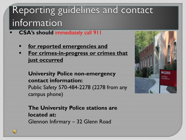 Reporting guidelines and contact information