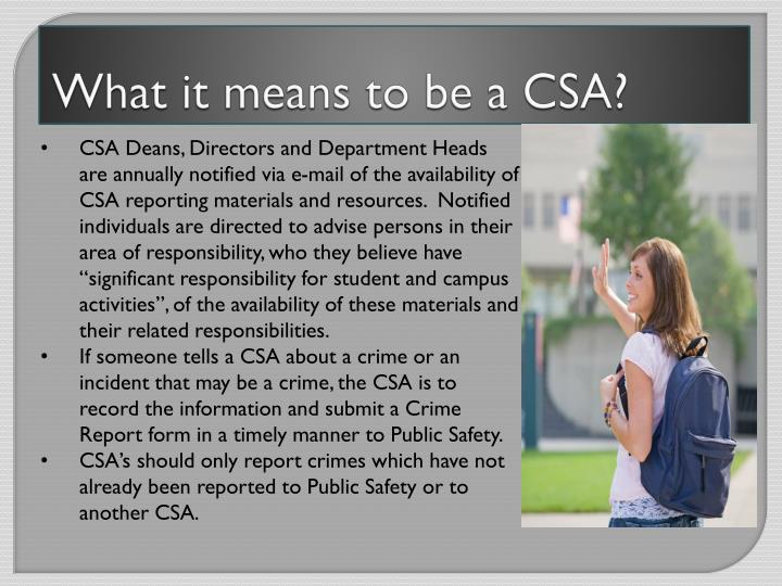 What it means to be a CSA?
