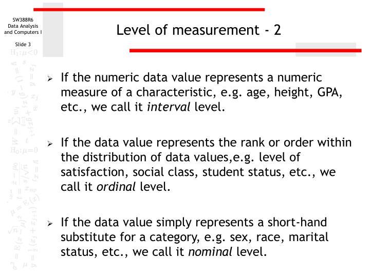 Level of measurement - 2