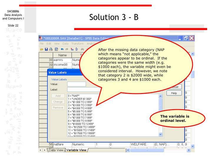 Solution 3 - B