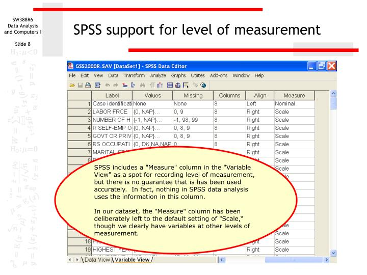 SPSS support for level of measurement