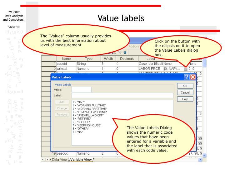 Value labels