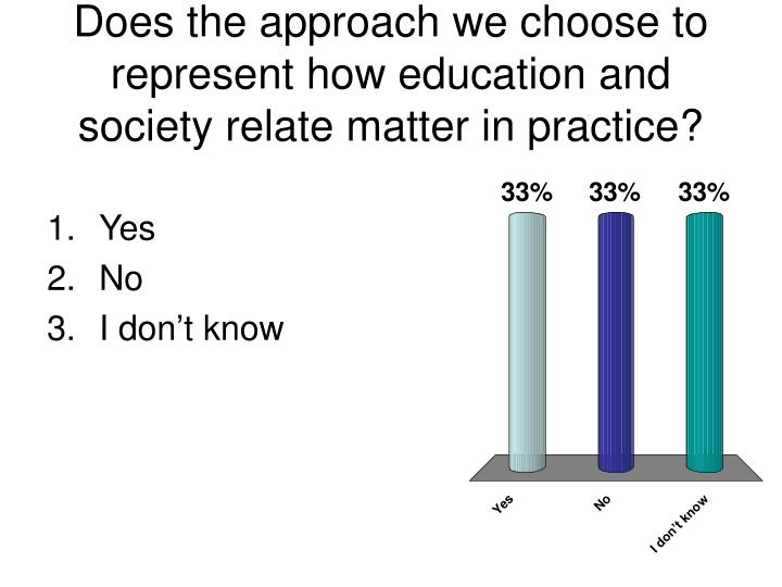 Does the approach we choose to represent how education and society relate matter in practice?
