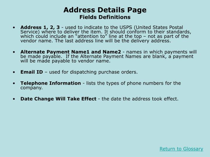 Address Details Page