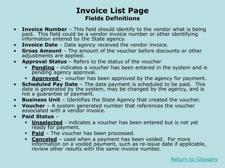 Invoice List Page