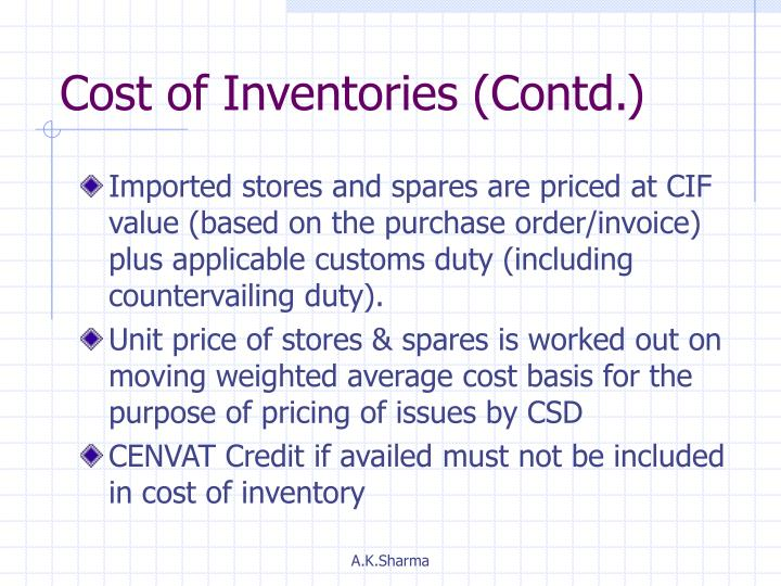 Cost of Inventories (Contd.)