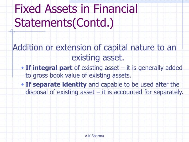 Fixed Assets in Financial