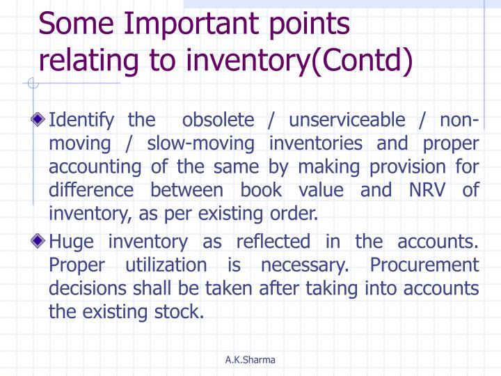 Some Important points relating to inventory(Contd)