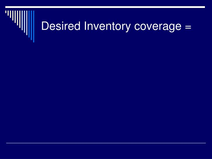 Desired Inventory coverage =