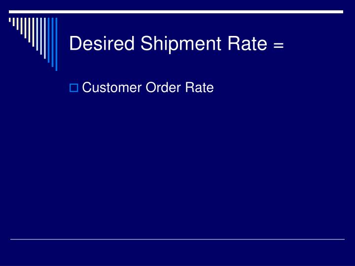 Desired Shipment Rate =
