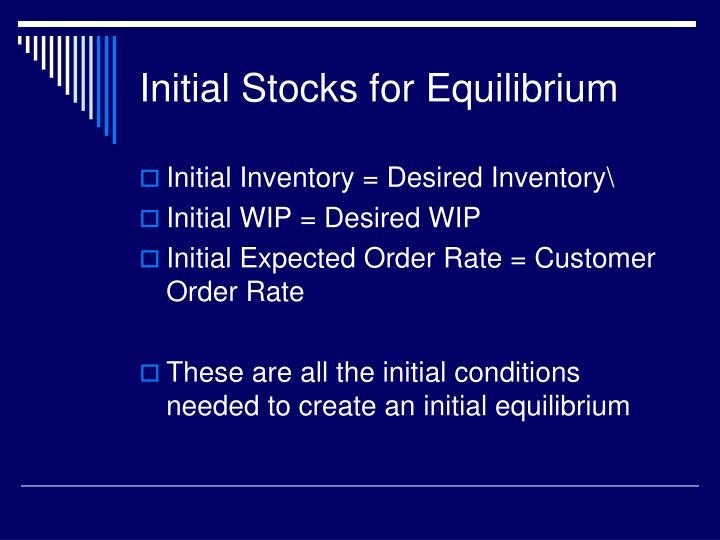 Initial Stocks for Equilibrium