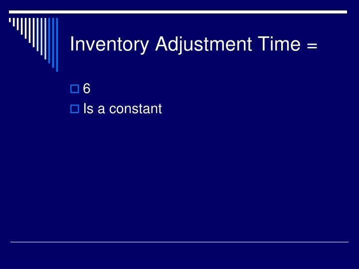 Inventory Adjustment Time =