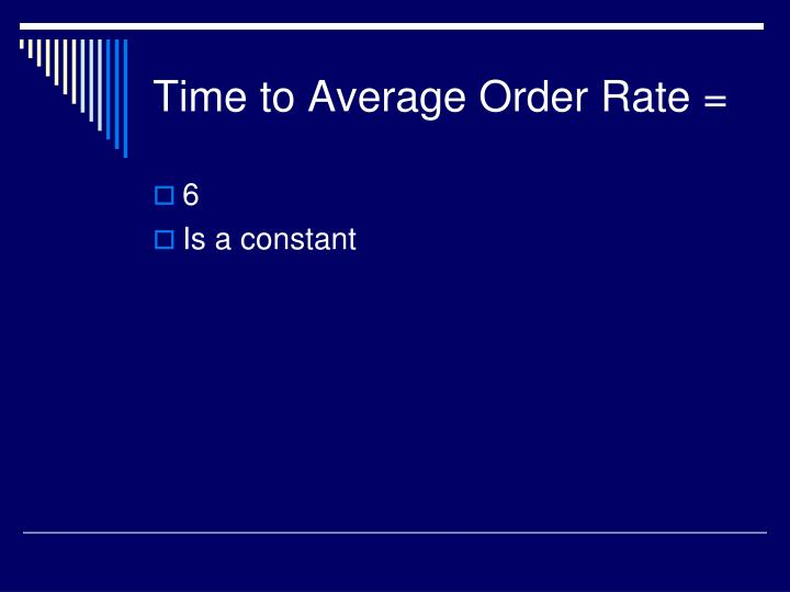 Time to Average Order Rate =