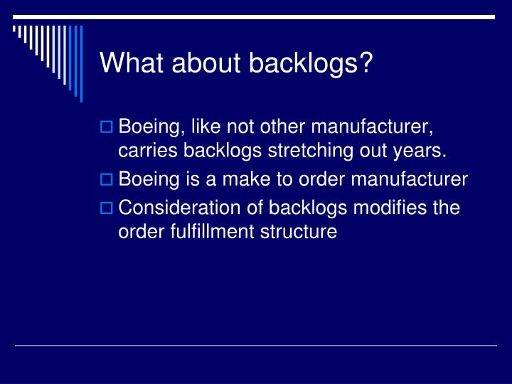 What about backlogs?