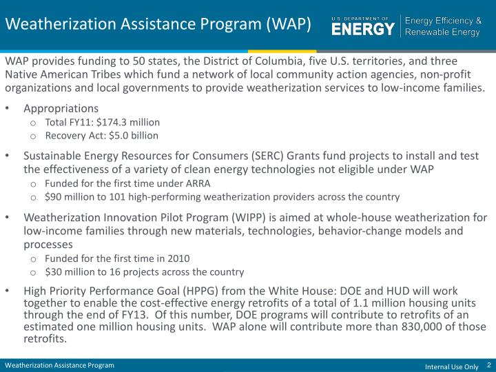 Weatherization assistance program wap